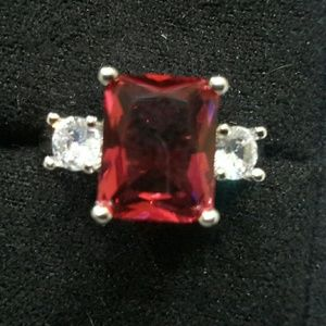 Women's Sterling Silver Genuine Red Ruby CZ Ring